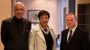 Commonwealth Secretary-General Kamalesh Sharma, Commonwealth Secretary-General Designate Patricia Scotland and Commonwealth Chairman Joseph Muscat.