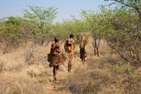 A family of Bushmen in the Kalahari, Botswana