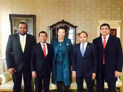 Maldives' Mohamed Nasheed with the Rt Hon Patricia Scotland