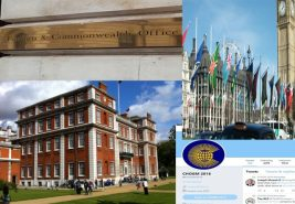 montage of Commonwealth HQ, FCO, CHOGM 2018 Twitter feed and Commonwealth flags