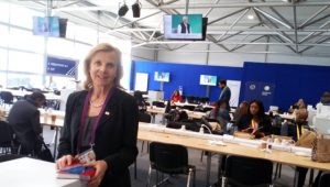 Victoria Schofield at the CHOGM Media Centre