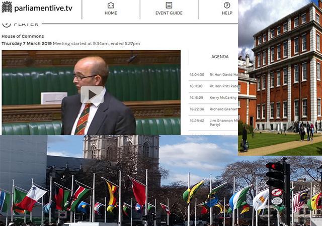 Clockwise: James Duddridge, Marlborough House and flags on Commonwealth Day.