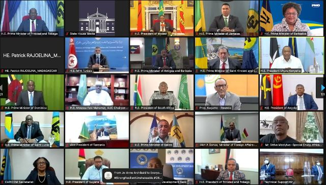 African Union and CARICOM leaders at their virtual summit